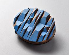 By Julia Turner, Timber Brooch #2 (Blue Peaks), Wood, stain, steel.