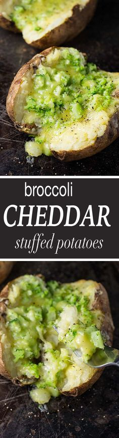 Broccoli cheddar stuffed potatoes are and easy and delicious way to sneak a few veggies into dinner! This simple recipe will be loved by the whole family!