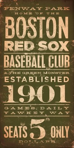 Boston Red Sox baseball club Fenway typography graphic word art on canvas 10 x 20 by stephen fowler. $90.00, via Etsy.