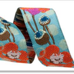 Okay, this ribbon, not fabric, designed by Anna Marie Horner. Simply stunning--detail, colors. Yum!