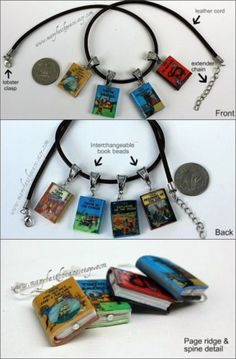 The Adventures of Tintin Mini Book Cord Necklace Set