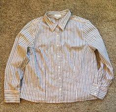 C.J. Banks Shirt Women's Stretch Pink, White, & Black Striped Long Sleeved  #CjBanks #ButtonDownShirt