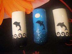 dolphins nail art design using smart nails diseno de unas de delfin