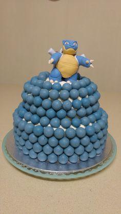 Blastoise, Blue Velvet, two tier, chocolate balls