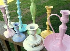I just inherited a bag of old mismatched brass candlesticks that I was tempted just to throw out.then this popped up on an unrelated image search. Teacup Candles, Old Candles, Painted Candlesticks, Paint Brass, Weekend Crafts, Paper Lace, Brass Candle Holders, Coloring Easter Eggs, Wedding Designs