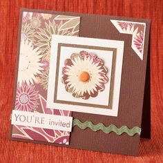 Easy THaNKSGiViNG CaRD ____Floral Paper, Festive Stamps, RicRac, & Punches give this card a warm & gracious attitude ____Paper:BazzillBasicsPaper Chiffon,Geneva, HeidiGraceDesigns HarvestFlower/HarvestRow ____Stamps:PaperTrey ____Ink:StewartSuperiorPalette BurntUmber, PaperTrey ____Ribbon:MayArts Green Rickrack ____Accents:BazzillBasicPaper Wings, ApricotReallyBigBrads ____Punches:Stampin'Up! Scallop, Corner