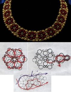 Red & gold flowers necklace #afs collection