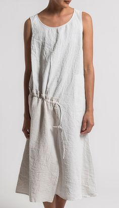 Oska Linen Sleeveless Tanja Dress in Page White | Santa Fe Dry Goods & Workshop #oska #oskaclothing #casual #dress #linen #spring #summer #ss17 #sleeveless #fashion #style #clothing #santafe #santafedrygoods
