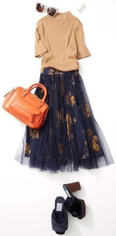 Seem like maxi lace skirt is in trend now 🤔 + brown sweater + leather hand bag Fashion Mode, Japan Fashion, Modest Fashion, Look Fashion, Skirt Fashion, Autumn Fashion, Fashion Outfits, Womens Fashion, Fashion Design