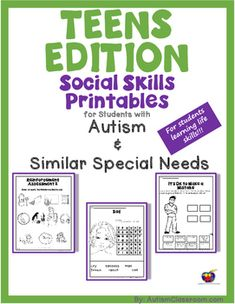 Teen's Edition Social Skills Activities and. by Autism Classroom Coping Skills Activities, Activities For Teens, Autism Activities, Social Activities, Autism Resources, Social Skills Autism, Social Skills Lessons, Teaching Social Skills, Life Skills