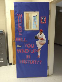 Classroom door decoration to get kids thinking about history and how important it is. 7752