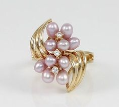 #jewelry 14K Yellow Gold Natural Diamond Pink Pearl Cluster Modernist Ring Size 6.5 QR1 please retweet