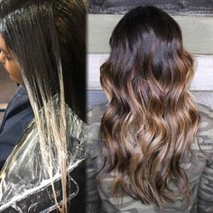 """Everyone loves a processing photo! One of my most popular posts! MEOWWWW!! //BALAYAGE// A French word meaning to """"sweep"""" or paint. A hair painting technique to create a sun-kissed natural look with softer less noticeable regrowth lines. #kmstylist #balayagespecialist Love! Hair by Kimberly Marie Stylist"""