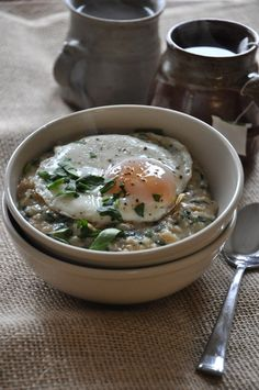 Savory Oats featuring Scallions, Spinach, Parmesan and an Egg from My Little Celebration