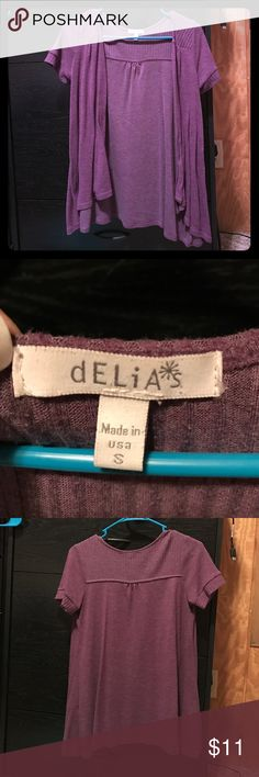 Purple cardigan Delias purple short sleeve cardigan. Size small. Only worn a few times. delias Sweaters Cardigans