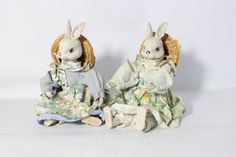 Delton Pair of Sitting Bunny Rabbit Farmer by DeeSweetNostalgia
