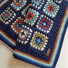 Vintage crochet granny square blanket (net 6 kleure wat gevarieer word in die blokke - Salvabrani Crochet Borders, Afghan Crochet Patterns, Crochet Stitches, Love Crochet, Diy Crochet, Crochet Baby, Vintage Crochet, Crochet Granny Square Afghan, Crochet Squares