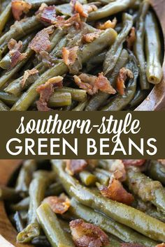 Southern Style Green Beans - A simple slow cooker recipe made with beans bacon and onions! Southern Style Green Beans - A simple slow cooker recipe made with beans bacon and onions! Bacon Recipes, Vegetable Recipes, Healthy Recipes, Delicious Recipes, Potato Recipes, Casserole Recipes, Pasta Recipes, Free Recipes, Soup Recipes