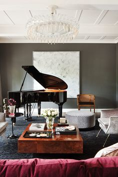 Love everything about this room! Wall color ✅ the ceiling✅ mix of furniture styles ✅ and of course the baby grand✅