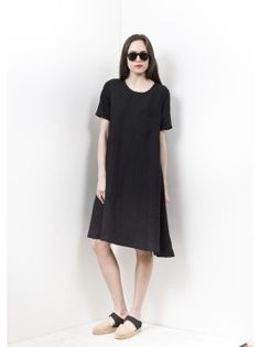 69 Basic Dress - Black Linen