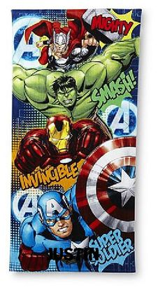 Marvel Avengers Beach Towel - Hulk, Thor, Iron Man & Captain America - Personalized by CACBaskets on Etsy Iron Man Captain America, Pool Towels, Sewing Studio, Beach Trip, Marvel Avengers, Beach Towel, Hulk, Thor, Superhero