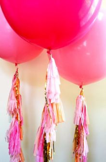 Tassels and Hot Pink Balloons #weddingdecoration #balloons #wedding