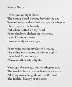 Winter Stars - Sara Teasdale