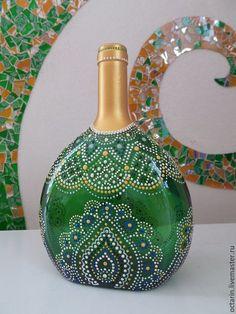 """Купить Декоративная бутылка """"Зимняя Сказка"""" - стеклянная бутылочка, стеклянная…"""