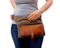 Hippe tas - Fanny Pack - reiziger tas - Utility heup riem - Hip Pouch-handgemaakte katoen nood Leather Bag