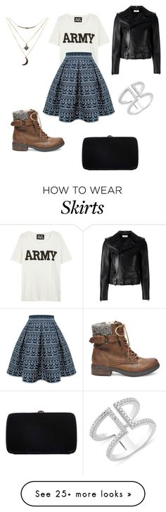 """""""Army, Skirt, mixed with a little Leather"""" by momo-free on Polyvore featuring NLST, Rumour London, Yves Saint Laurent, Sergio Rossi, Charlotte Russe and Steve Madden"""
