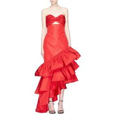 Johanna Ortiz 'Spicy Margarita' cutout twist bandeau tiered peplum... (£2,460) ❤ liked on Polyvore featuring dresses, gowns, red, ruffle dress, tiered dress, cut out gown, peplum evening gowns and red ball gown
