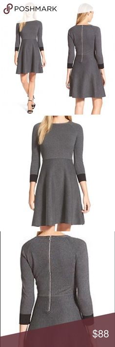 "NWT Vince Camuto Fit and Flare Sweater Dress The cozy sweater-dress—this one in a fine-gauge cotton knit—is updated in a waist-slimming, feminine silhouette with contrast cuffs. Exposed back-zip closure Crewneck Three-quarter sleeves with contrast cuffs Unlined. Measures from pit to pit 20""/ waist 18""/ length 37"". Made of cotton/ Nylon/ spandex Vince Camuto Dresses"
