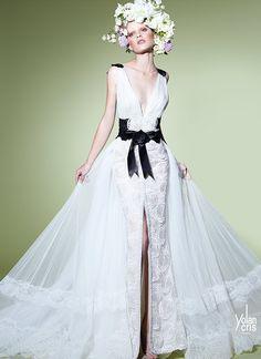 Yolan Cris A/W Collection 2014-15 | black&white long lace gown