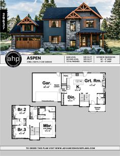 Modern Mountain 3 bedroom 2 story house plan - House Plans, Home Plan Designs, Floor Plans and Blueprints House Plans 2 Story, Sims House Plans, Family House Plans, 2 Story Houses, Craftsman House Plans, Dream House Plans, Modern House Plans, Small House Plans, Family Houses