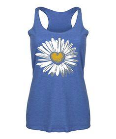 10d6125a910 LC Trendz Women s Royal Blue Daisy Heart Racerback Tank