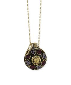 Look at this Purple & Goldtone Stone Pendant Necklace on #zulily today!