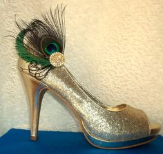 Bridal Wedding Shoe Clips Peacock Shoe Clips by ShoeClipsOnly, $48.00