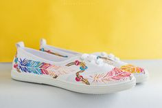 Hand painted Women Boho-style Canvas Shoes, Sneakers: Magic Feathers is for anyone who loves cheerful and colorful shoes. My new - Wild Spirit Collection - Its bright and rich colors, daedal patterns and designs - all my love of nature and fresh air, to the summer and freedom. Feathers for me are the personification of freedom, as they float in the air as they are graceful and beautiful ... They are always inspire me!  They are perfect for summer! A great option for every day at work, walk…