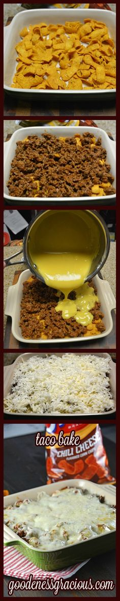 Taco Bake Casserole: Ingredients: Serves: 4 Prep Time: 20 minutes Cook Time: 10 minutes 1 lb Ground Beef 1 pkg Taco Seasoning Cup Water Chili Cheese Corn Chips- to taste 1 Can I Love Food, Good Food, Yummy Food, Yummy Taco, Delicious Meals, Mexican Dishes, Mexican Food Recipes, Mexican Meals, Easy Taco Bake