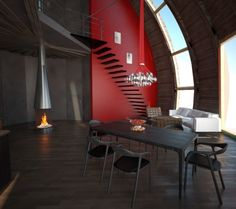 Love the color scheme and the vertical floor to ceiling windows in this #dome home