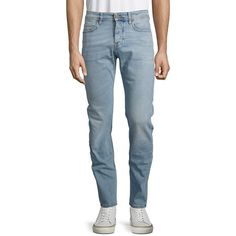 Hugo Boss Orange 90 Tapered Jeans (116.955 CLP) ❤ liked on Polyvore featuring men's fashion, men's clothing, men's jeans, aqua, mens slim fit tapered jeans, mens tapered jeans and mens button fly jeans