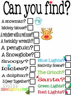 Christmas lights scavenger hunt- FUN!