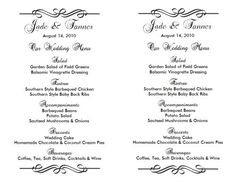 free wedding menu templates http www weddingmenutemplate com