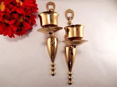 Brass Candle Holders Pair of Wall Sconce Mood Lighting Candlesticks VTG Decor