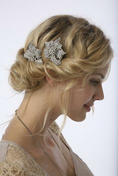 Vintage Wedding Hairstyles with Updo...am in love w this vintage inspired updo!! I also really love the vintage  clips in her hair. I would definitely love this style for my wedding day!! It is timeless, and beautiful!