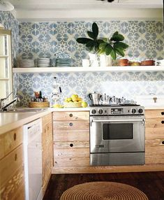 1-natural-solid-wood-kitchen-cabinets-set-interior-design-wooden-floor-open-racks-shelves-square-white-and-blue-wall-tiles-backsplash.jpg (691×840)