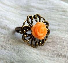 Orange Rose Filigree Bronze Ring Adjustable by Hankat on Etsy, $4.00