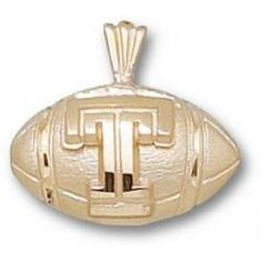 Temple Owls T Football Pendant - 14KT Gold Jewelry
