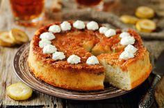 Buy Caramel banana cake with tea by Arzamasova on PhotoDune. Caramel banana cake with tea on a wood background. Caramel Banana Cake, Carole Crema, Yams, Baked Goods, Nom Nom, French Toast, Cheesecake, Oven, Yummy Food
