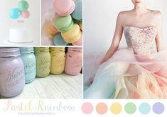 pastel rainbow wedding inspiration board